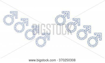 Net Vector Male Cohort Symbol Icon. Mesh Carcass Male Cohort Symbol Image In Lowpoly Style With Comb