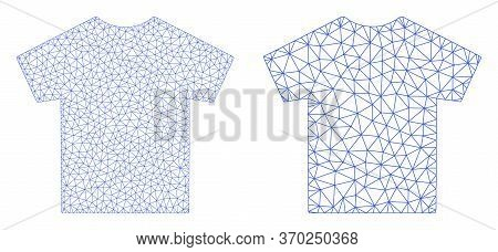 Mesh Vector Male T-shirt Icon. Mesh Wireframe Male T-shirt Image In Lowpoly Style With Connected Tri