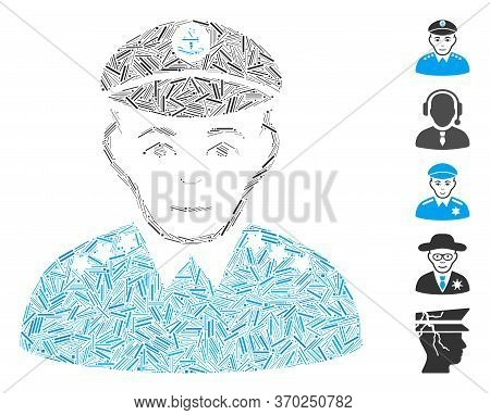 Dash Mosaic Based On Military Captain Icon. Mosaic Vector Military Captain Is Composed With Random D