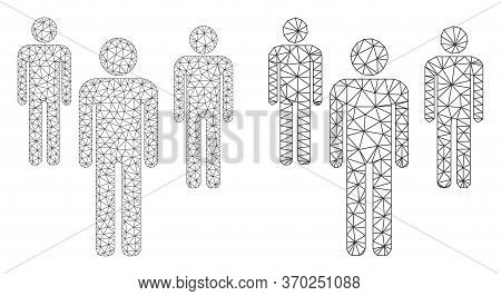 Mesh Vector Men Figures Icon. Mesh Carcass Men Figures Image In Low Poly Style With Combined Triangl