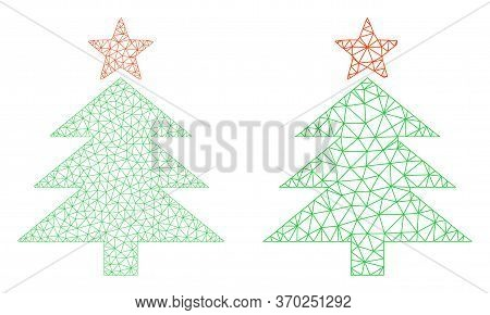 Mesh Vector New Year Tree Icon. Mesh Wireframe New Year Tree Image In Lowpoly Style With Structured