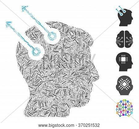 Dash Mosaic Based On Neural Interface Plugs Icon. Mosaic Vector Neural Interface Plugs Is Composed W