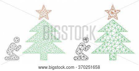 Mesh Vector Pray To Christmas Tree Icon. Mesh Carcass Pray To Christmas Tree Image In Lowpoly Style
