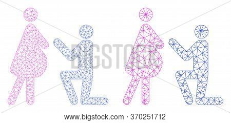 Net Vector Pregnant Woman Engagement Icon. Mesh Wireframe Pregnant Woman Engagement Image In Lowpoly
