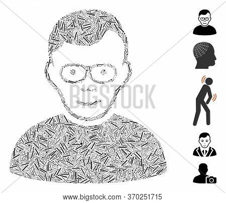 Line Mosaic Based On Pensioner Icon. Mosaic Vector Pensioner Is Designed With Randomized Line Elemen