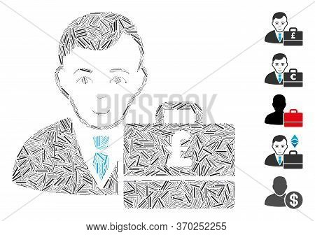 Hatch Mosaic Based On Pound Sterling Accounter Icon. Mosaic Vector Pound Sterling Accounter Is Compo