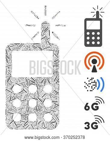 Dash Mosaic Based On Radio Transmitter Radiation Icon. Mosaic Vector Radio Transmitter Radiation Is