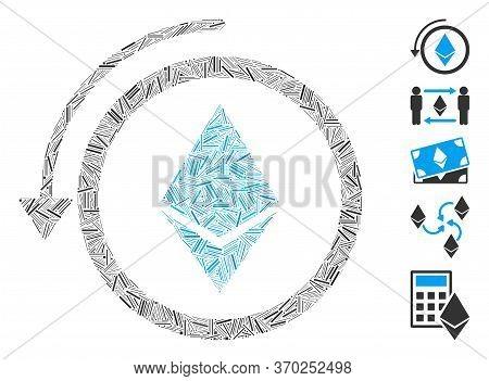 Dash Mosaic Based On Refund Ethereum Crystall Icon. Mosaic Vector Refund Ethereum Crystall Is Design