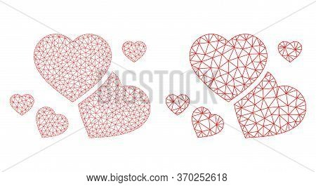 Mesh Vector Romantic Hearts Icon. Mesh Carcass Romantic Hearts Image In Lowpoly Style With Structure