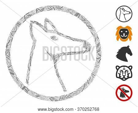 Hatch Mosaic Based On Rounded Fox Head Icon. Mosaic Vector Rounded Fox Head Is Created With Scattere