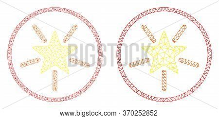 Mesh Vector Rounded Shine Star Icon. Mesh Wireframe Rounded Shine Star Image In Low Poly Style With