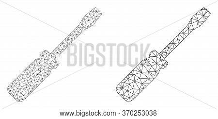 Mesh Vector Screwdriver Tool Icon. Mesh Wireframe Screwdriver Tool Image In Lowpoly Style With Organ