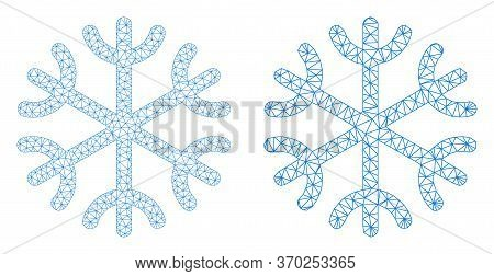 Mesh Vector Snowflake Icon. Mesh Wireframe Snowflake Image In Low Poly Style With Organized Triangle