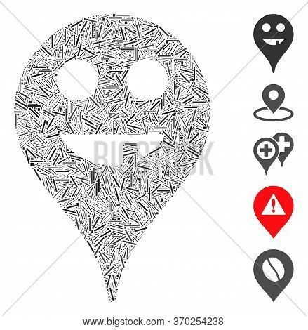 Line Mosaic Based On Toothless Smiley Map Marker Icon. Mosaic Vector Toothless Smiley Map Marker Is