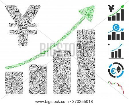 Hatch Mosaic Based On Yen Growth Trend Icon. Mosaic Vector Yen Growth Trend Is Created With Randomiz