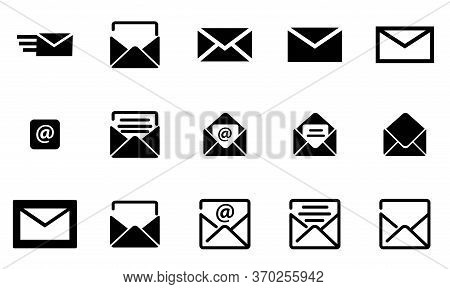 Fish Black Email, Set Letters Icon, Email. Open And Close The Envelope. Online Postal Sign. A Paper