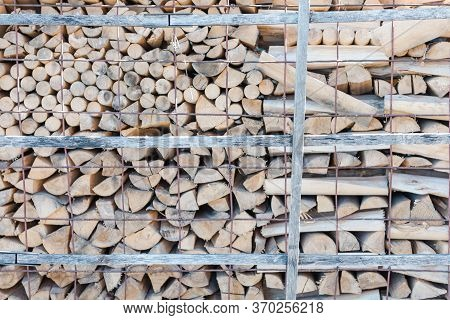 Firewood Is Lying. Firewood Background. Firewood Close-up. Wood. Fuel. Burn Wood. Birch Wood. Use Th