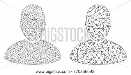 Mesh Vector User Icon. Mesh Carcass User Image In Low Poly Style With Connected Triangles, Dots And