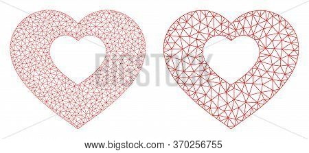 Mesh Vector Valentine Heart Icon. Mesh Wireframe Valentine Heart Image In Low Poly Style With Connec