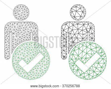 Mesh Vector Valid Man Figure Icon. Mesh Carcass Valid Man Figure Image In Low Poly Style With Struct