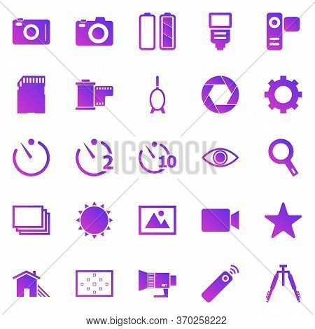 Camera Gradient Icons On White Background, Stock Vector