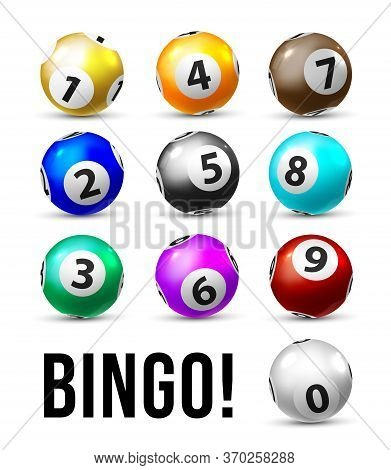 Bingo Balls. Ten Lottery Balls Set For Keno Lotto Sport Game. Realistic Bingo Balls With Numbers On