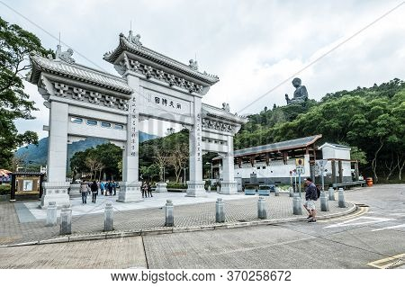 Hong Kong - January 13, 2016: Tian Tan Buddha Aka The Big Buddha Is A Large Bronze Statue Of A Sakya
