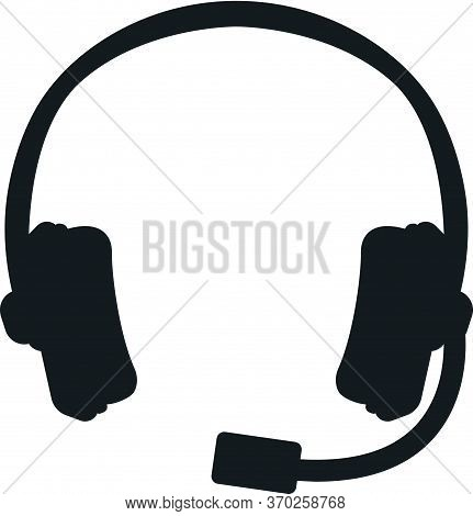 Professional Gaming Headset For Play, High Quality Music Listening Concept Icon Black Silhouette Sim