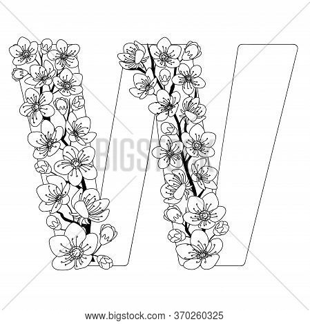 Capital Letter W Patterned With Contour Hand Drawn Doodle Blossom Cherry. Monochrome Page Anti Stres