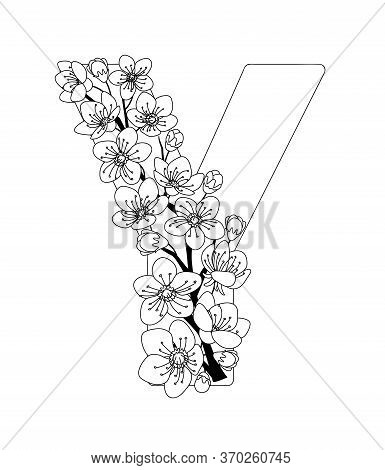 Capital Letter Y Patterned With Contour Hand Drawn Doodle Blossom Cherry. Monochrome Page Anti Stres