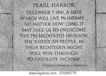 Washington, D.c., Usa - November 11, 2017: Inscription About Pearl Harbor On The World War Ii Memori