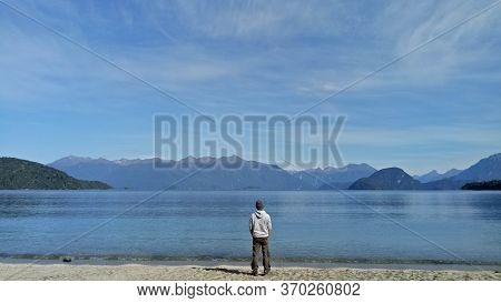 Fiordland, New Zealand - April 09, 2017 : A Man Standing Inside Fiordland National Park South Island