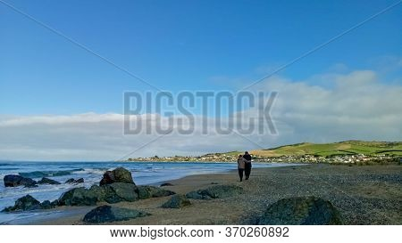 Invercargill, New Zealand - April 16, 2017 : People Enjoy Beutiful View Around Riverton Beach New Ze