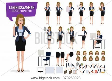 Business Woman Character Creation Kit Vector Set. Businesswoman Characters Create Editable Face, Han