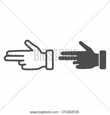 Three Fingers Gesture Line And Solid Icon, Hand Gestures Concept, Pointing Fingers Sign On White Bac