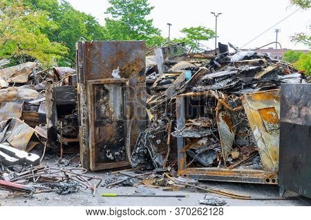 Businesses Interior Fire Burned Down Damaged In Minneapolis Protest And Riots Fueled By The Death Of