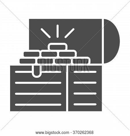Treasure Chest Solid Icon, Wealth Concept, Opened Pirates Treasure Box Sign On White Background, Vin
