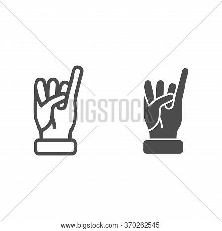 Little Finger Of Human Hand Raised Up Line And Solid Icon, Gestures Concept, Little Finger Making Pr