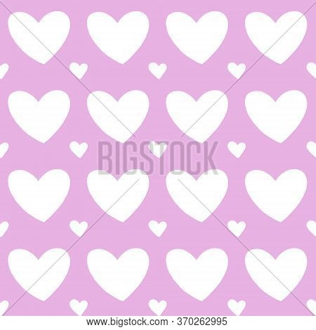 Seamless Pattern Background Of White Heart On Pink Color