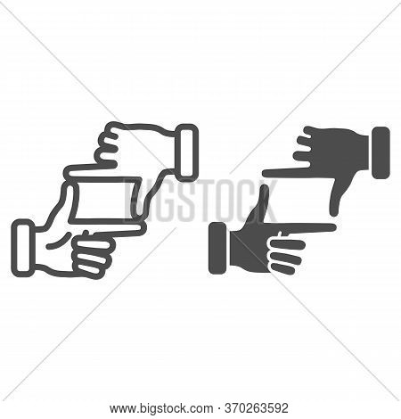 Hands In Photo Frame Gesture Line And Solid Icon, Gestures Concept, Human Hands Doing Cropping Sign