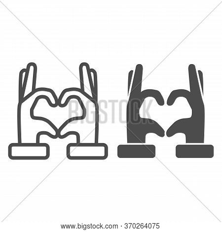 Hands In Heart Form Line And Solid Icon, Gestures Concept, Heart Shape Hand Gesture Sign On White Ba