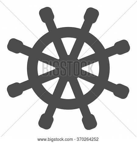 Wooden Marine Wheel Solid Icon, Nautical Concept, Ship Helm Sign On White Background, Shipboard Stee