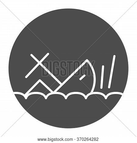 Shipwreck Solid Icon, Marine Concept, Sinking Ship Sign On White Background, Ship Crash Icon In Glyp