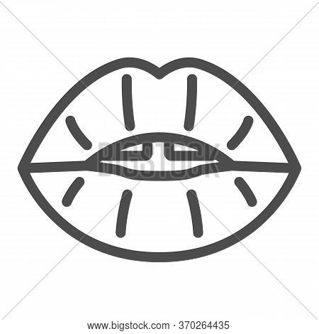 Sexy Lips Kiss Line Icon, Sexual Minoritie Concept, Erotic Open Mouth Sign On White Background, Lgbt