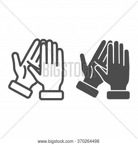 Applause Line And Solid Icon, Gestures Concept, Bravo Sign On White Background, Hands Clapping Symbo