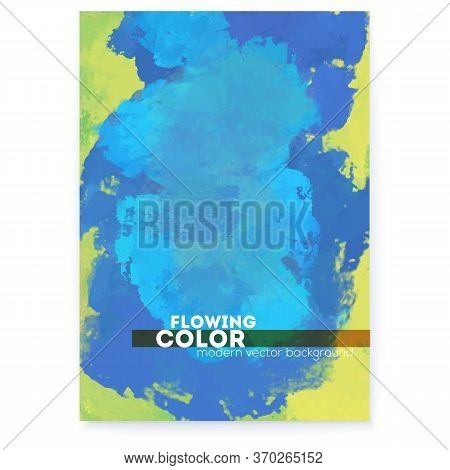 Textured Hand Drawn Canvas. Green And Blue Colors. Abstract Banner In Impressionism Style. Vector Il