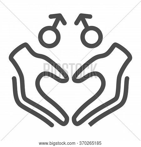Gay Signs With Hands In Heart Shape Line Icon, Lgbt Couple Concept, Homosexual Love Sign On White Ba
