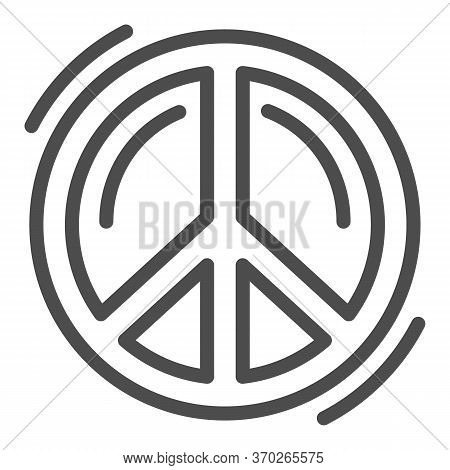 Pacifist Symbol Line Icon, Human Rights And Tolerance Concept, Peace And No War Sign On White Backgr