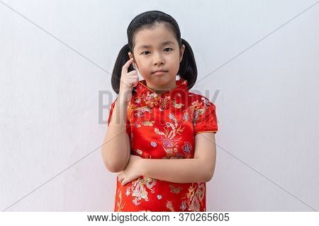 Asian Girl Wear Cheongsam Thinking, Beautiful Girl