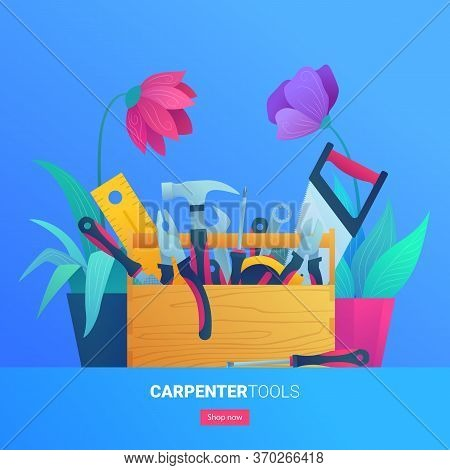 Carpenter Tools Web Banner In Cartoon Style. Hammer, Pliers, Saw, Rasp And Wrench. Construction Tool